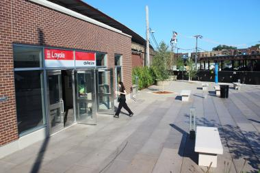 A new plaza at the Loyola ''L'' station was completed last summer.