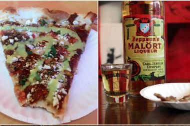 Dimo's Pizza is offering Jeppson's Chicken Mole pizza this week, made with Jeppson's Malort.