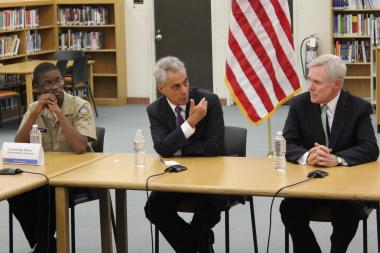 Rickover Navy Academy student Knowledge Brown listens to Mayor Rahm Emanuel and Navy Secretary Ray Mabus during a roundtable discussion at Michele Clark Magnet High School Thursday.