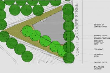 An illustration of the new dog-friendly area in development at Montgomery Ward Park