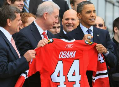 In this file photo from March of 2011, President Obama meets with Blackhawks players and executives.