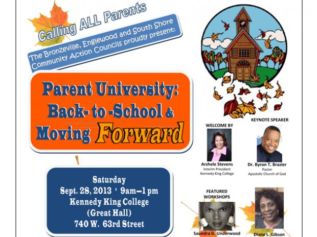 A parents' workshop is set for Saturday at Kennedy-King College in Englewood.
