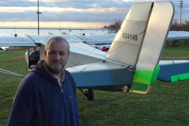 Pilot John Pedersen landed his Rand S6 on Lake Shore Drive at Jackson Drive Sunday, after experiencing mechanical issues.