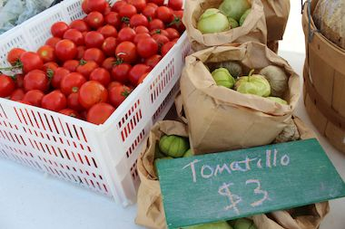 The tomatillos and tomatoes sold at the Back of the Yards Farmers Market were grown just steps away at The Plant's outdoor farm.