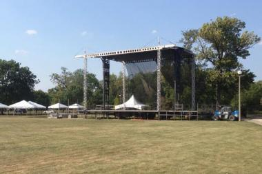 @RiotFest tweeted this photo of one of the stages being set up at Humboldt Park Tuesday afternoon.