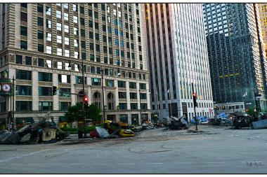 "Some wreckage left over from 2010 filming of the third ""Transformers"" movie in Chicago"