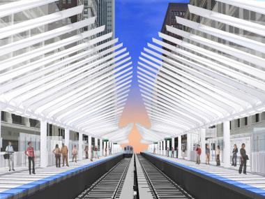 The new Washington-Wabash stop would feature an undulating canopy.