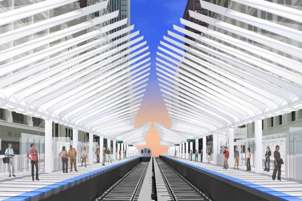 The city revealed renderings of the planned $75 million Washington-Wabash stop to be built beginning in the fall 2014.