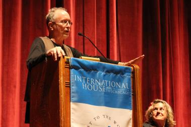 Author-activist Bill Ayers talks at the University of Chicago's International House Wednesday, as Bernardine Dohrn looks on.