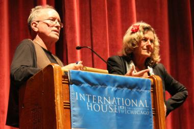 Bill Ayers and Bernardine Dohrn field questions at the University of Chicago's International House.