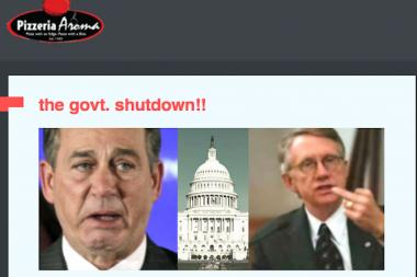 Dabebneh's email featured a picture of House Speaker John A. Boehner and a picture of Senate Majority Leader Harry Reid, who appears to be flipping the bird.