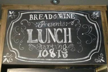 Bread & Wine is now open for lunch.