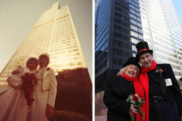 On their 35th wedding anniversary, chimney sweeps David and Dee Stoll renewed their vows at the Willis Tower Skydeck, 233 S. Wacker Drive.