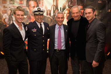 "Jesse Spencer (l.), Chicago Fire Department Commissioner Jose Santiago, Mayor Rahm Emanuel, Dick Wolf and Taylor Kinney attend NBC's ""Chicago Fire"" premiere at the Chicago History Museum on Oct. 2, 2012."