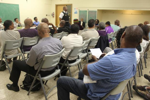Residents voiced concerns and were updated by police Thursday night after a fatal shooting Wednesday night.