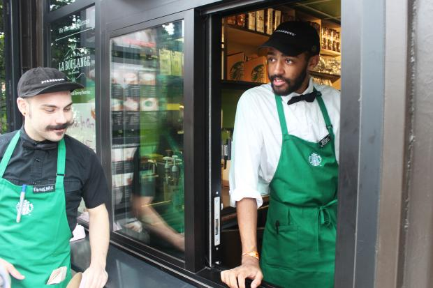 The Edgewater Starbucks served its first weekday customers on Monday.