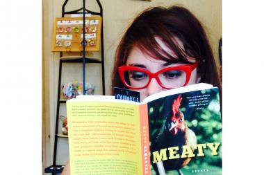 "Kaicy June, of Humboldt Park, read ""Meaty,"" a book by Rogers Park resident Samantha Irby."