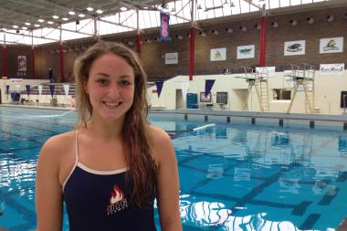 Sophomore swimmer Katherine Hare is the sixth member of her family to compete for the UIC Flames swim program and head coach Paul Moniak.