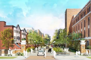 A rendering of the proposed Kenmore Woonerf on DePaul Unviersity's Lincoln Park campus.