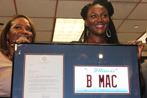 "The family of the Bernard ""Bernie Mac"" McCullough was presented with a special Illinois license plate Wednesday, Oct. 2, 2013 to celebrate the late entertainer's 56th birthday, which is Oct. 5."