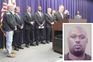 Nathaniel Hoskins (inset) was arrested along with 32 others as part of a drug bust by Chicago Police. Supt. Gary McCarthy speaks during a news conference about the bust (front right).