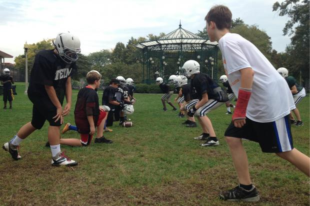 The North Side Titans Youth Football team plays its home games at Lane Tech High School and practices at Welles Park in Lincoln Square.
