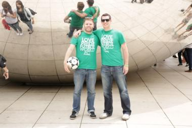Parker Heaps (r.) and Ryan Hendricks pose for a photo at The Bean in Downtown Chicago. Heaps, of Lakeview, and Hendricks, a Columbia College Chicago graduate, are co-founders of World FC and are taking a 12,000-mile road trip from Chicago to Brazil for the 2014 World Cup.