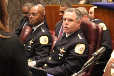 Chicago Police Supt. Garry McCarthy and his top deputy Al Wysinger (l.) prepare for budget hearings Thursday.