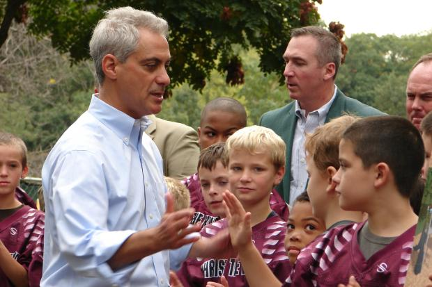 Mayor Rahm Emanuel officially unveiled plans on Saturday for an indoor ice rink and gymnastics center in Morgan Park before moving on to a groundbreaking at a prominent playground in Beverly.