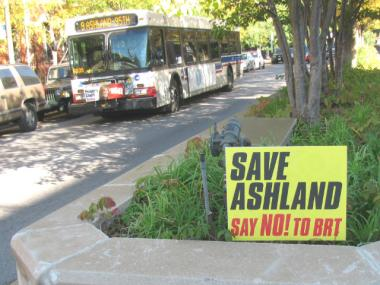 A sign opposing the Ashland BRT sits in the median on Ashland Avenue near Cortland.