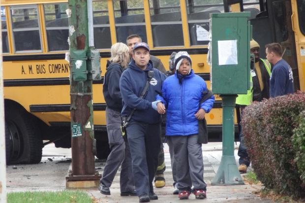 A school bus carrying four students from the Burnham Mathematics and Science Academy was rear-ended Tuesday afternoon. No serious injuries were reported.