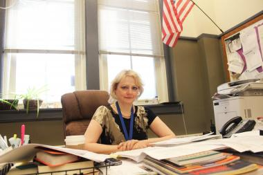 Senn High School Principal Susan Lofton inside her office.