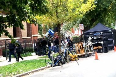 """Sirens,"" a new USA Network television show, films in a house in the 1400 block of North Wicker Park Avenue Monday."