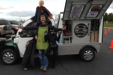The costume-clad grandkids of local food truck owner Jay Sebastian came to the rescue when he dropped wads of cash in a parking lot on a windy day.