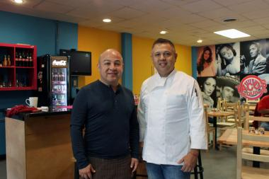 Jorge A. Pizana (l.) and Jorge Manzano are shown in their new restaurant, Tacos Tequilas, 2919 N. Milwaukee Ave.
