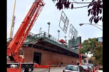 The Cubs erected a mock-up of a right field sign on Wednesday.