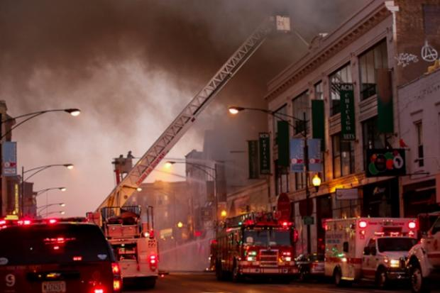 Crews are battling the two-alarm fire in the heart of Wrigleyville.