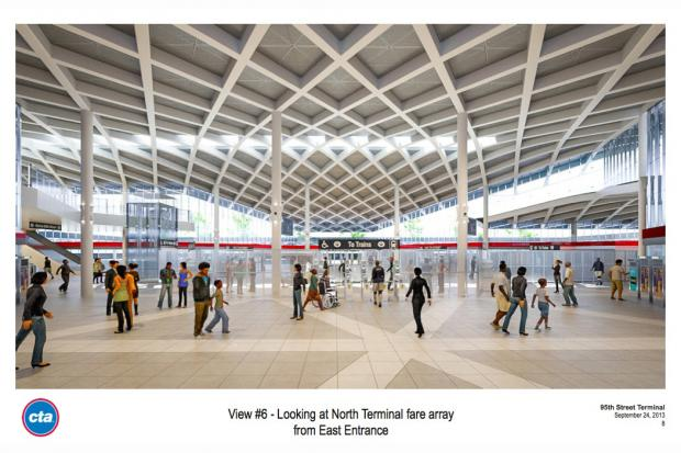 Design plans for a $240-million overhaul of the 95th Street Red Line station were released Tuesday.