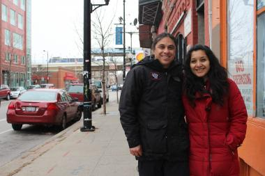 Chef/owner Rafael Bautista and his wife, Jessy Sanchez, outside the location of their future restaurant Bistro 18 at 1640 W. 18th St. The bistro will serve waffles and pancakes along with burgers and other more Latin-inspired items.
