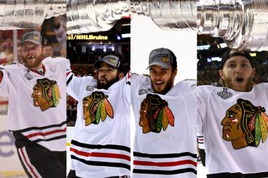 Four Blackhawks players are growing mustaches for Movember. From left to right, Bryan Bickell, Brandon Bollig, Niklas Hjalmarsson and Patrick Kane.