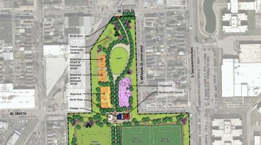 Close-up on the final rendering for Celotex Park in Little Village. The city granted community members' requests for an additional basketball court and soccer field.