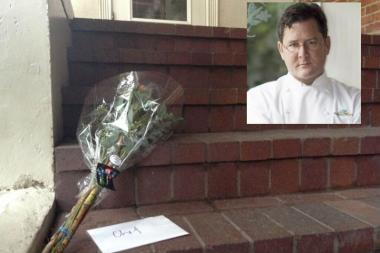 Admirers left flowers on the steps of Charlie Trotter's former restaurant after news of his death broke Tuesday.