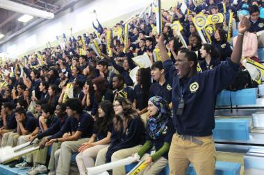 Chicago Math and Science Academy students cheer during a pep rally in their school's gym. Proceeds from an academy concert Thursday will be donated to St. Jude's Children's Research Hospital.