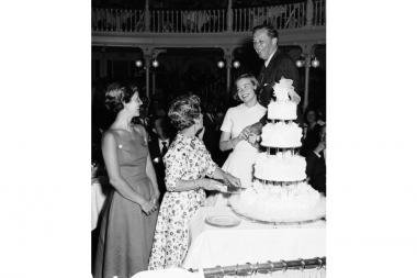 A young Diana Disney at a wedding anniversary celebration for her parents Walt and Lillian Disney in 1955.