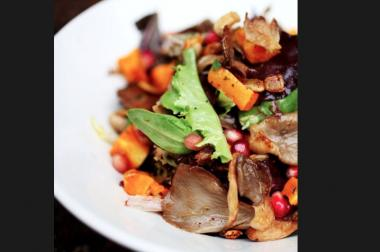 An example of what's in store for eaters when Rick Bayless opens a new offshoot in Wicker Park similar to XOCO in River North.  This fall Salad, tweeted by XOCO Chicago Tuesday, contains Bayless Garden greens, wood-roasted butternut, oyster mushrooms and pomegranate.