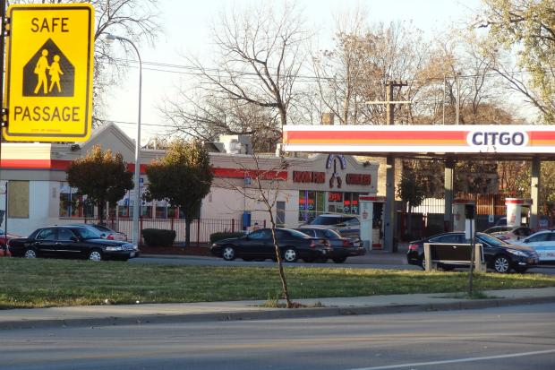 The shooting occurred at a Citgo gas station in the 800 block of West 59th Street Wednesday afternoon.