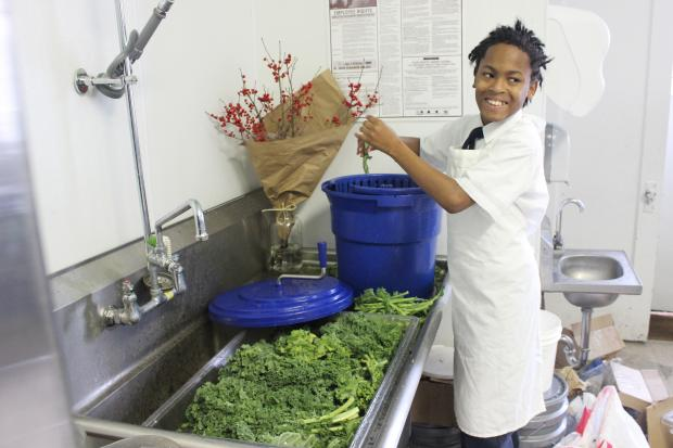 Rima Juskys' developmentally disabled students help prepare food for Green Spirit's customers once a week.