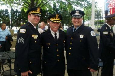 Chicago Police Supt. Garry McCarthy (c.) with John Folino (l.) at Folino's sergeant school graduation in 2012