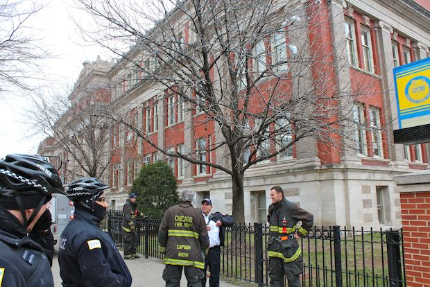 A student suffered burns on her face after a fire broke out in Lincoln Park High School's chemistry lab around noon Monday.