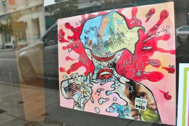 Artwork created by Lincoln Park High School students is on display in a number of storefronts along Clark Street as part of a partnership with the chamber of commerce.